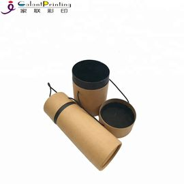 Kraft Round Hat Custom Printed Paper Tubes With Handle For Industrial Raw Materials